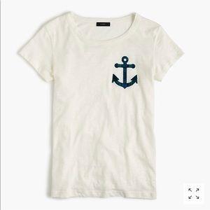 NWT J. CREW | plaid white anchor patch T-shirt top